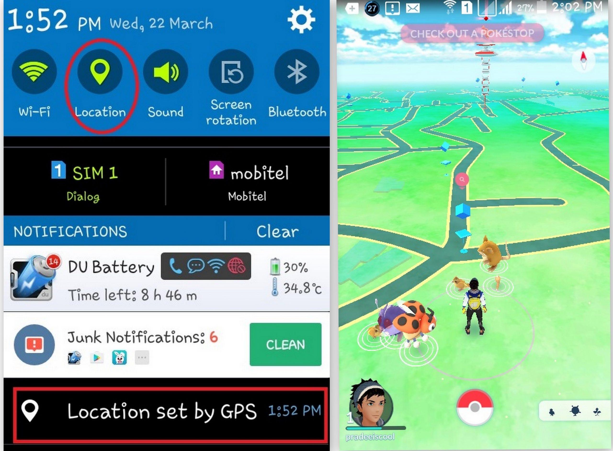 PokemonGo GPRS Signal
