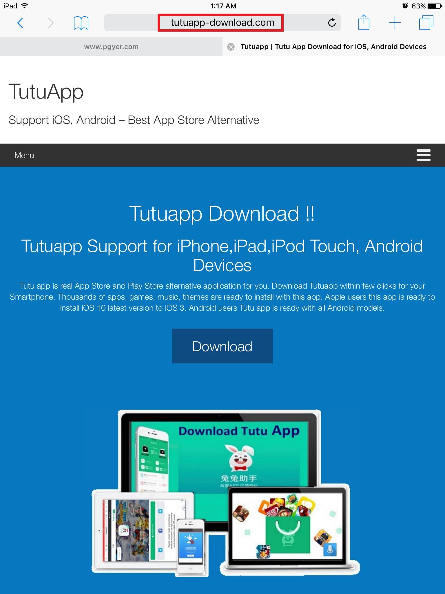 Open Safari browser on your iPhone, iPad, iPod Touch and go to tutuapp- download.com